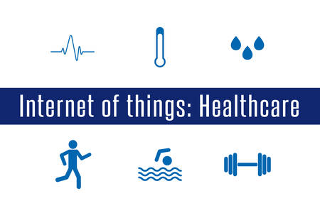 sensors: Internet of Things, IoT - Healthcare. Set of 6 flat icons. Vector llustration.