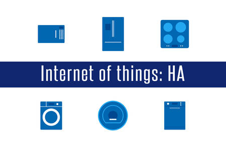 Internet of Things, IoT. Home Appliances. Set of 6 flat icons. Vector Illustration Illustration