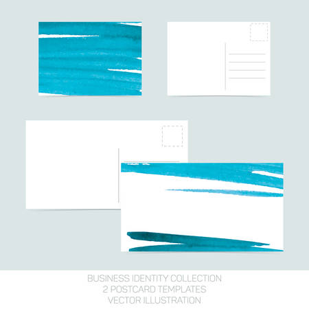 postcard: Business identity collection. Turquoise teal watercolor.. Postcard templates in two size with back side. Vector Illustration EPS10.