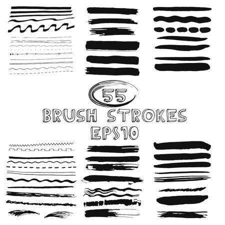 Vector set of hand drawn grunge brush strokes. Vector illustration EPS10.