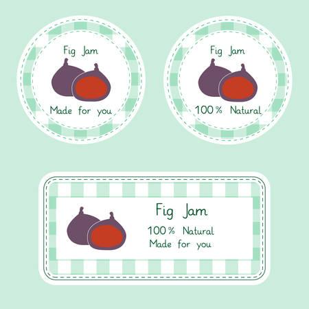 frutas divertidas: Colección de la fruta para el diseño. Etiquetas para naturales hechos en casa. Mermelada de higos en color verde y violeta.