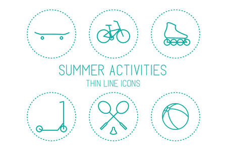 spend the summer: Bicycle, skateboard, roller skate, scooter, badminton, ball - devices for sport and recreation, silhouettes isolated on white background Illustration