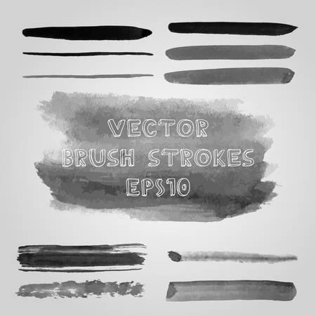 shades of grey: Vector set of grunge shades of grey watercolor brush strokes