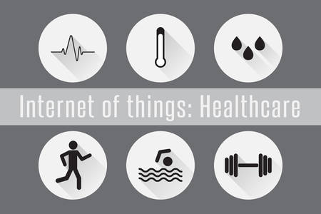 humidity: Internet of Things, IoT- Healthcare. Set of 6 flat icons. Vector Illustration