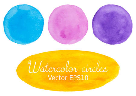 Pink, blue, yellow and purple watercolor hand painted circle shape design elements
