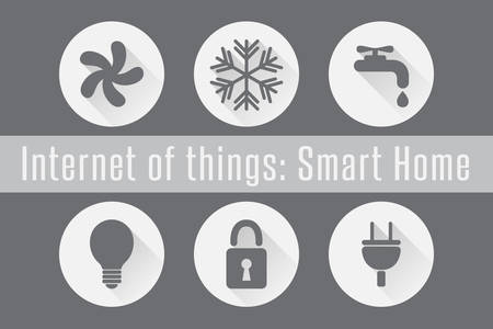 Internet of Things, IoT - Smart Home. Set of 6 flat icons. Vector Illustration 矢量图片
