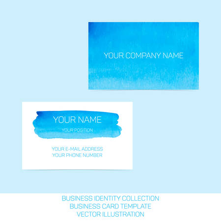 splutter: Business identity collection: blue and turquoise watercolor. Front and back sides for business card template. Illustration