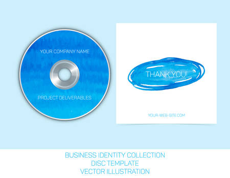 splutter: Business identity collection: blue and turquoise watercolor. CD or DVD cover template. Illustration