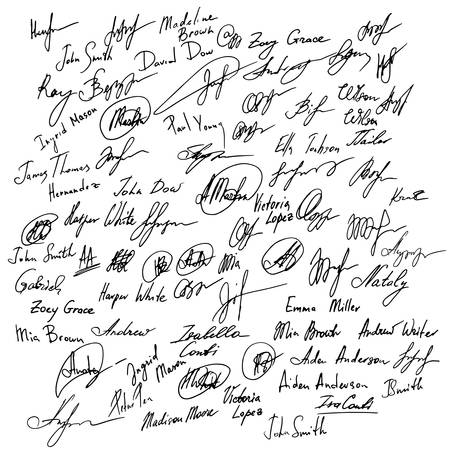 writing letter: Collection of vector imaginary signatures fictitious autograph