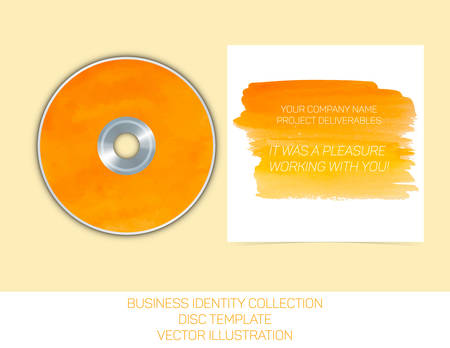 business identity collection orange and yellow watercolor cd