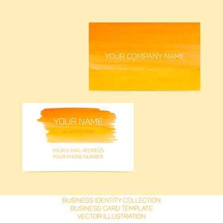splutter: Business identity collection. Orange and yellow watercolor. Front and back sides for business card template. Vector Illustration EPS10.