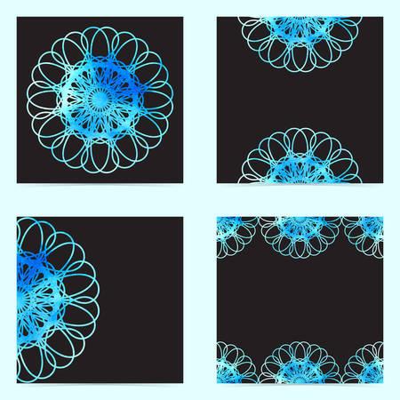 Conjunto de patrón de pintura de acuarela ornamental geométrica transparente abstracta. Ilustración del vector EPS10.