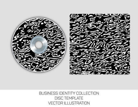 dvd cover: Business identity collection. Black and white chaos. CD or DVD cover template.
