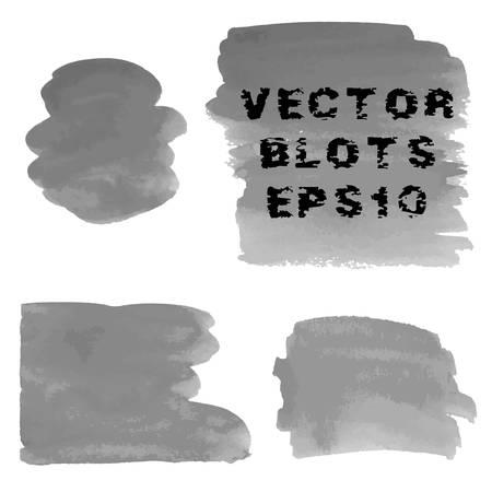 shades of grey: Set of grunge shades of grey watercolor hand painted blots. Vector Illustration EPS10. Illustration