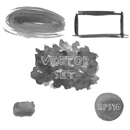 shades of grey: Set of grunge shades of grey watercolor hand painted shapes. Vector Illustration EPS10.