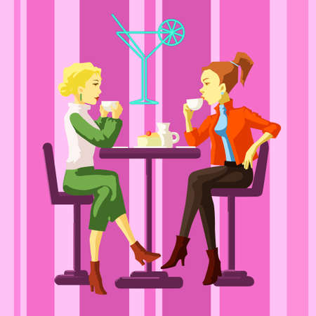 Ladies in a cafe, relaxing Vector