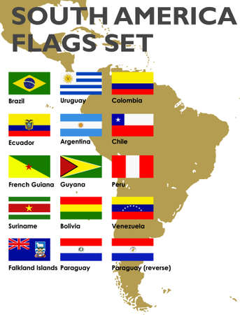 South America flags set Vector