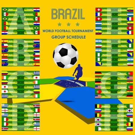 Football tournament schedule Brazil, stock vector Vector