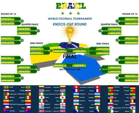 knock out: World football tournament knock-out round, Brazil, vector