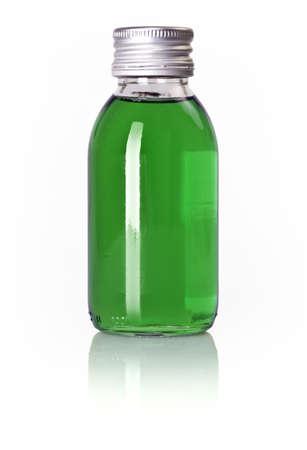 linctus: Bottle of blue liquid isolated over white background
