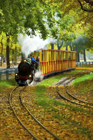 Famous and historic Liliputbahn in the Prater Park of Vienna