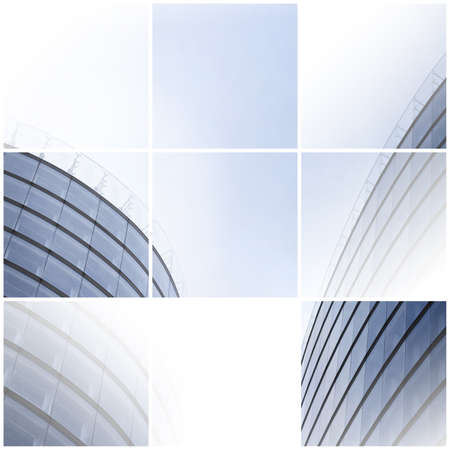 Collage of two office buildings in contemporary architectural style  photo
