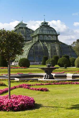 nbrunn: Daylight image of the famous palmenhaus   palm house, or greenhouse  at the imperial gaden of Sch�nbrunn  Schoenbrunn , Vienna, Austria