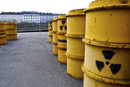 tun: Rusty and old barrel with radioactive waste Stock Photo