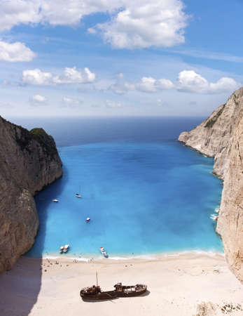 Shipwreck of the Navagio Beach in Zakynthos - Greece ionian Sea photo