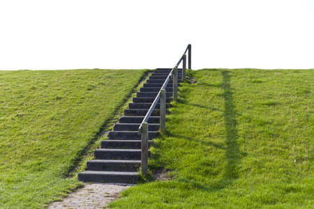 A simple staircase direct the way forward on a small hill into the white Nothing, which could be used for any digital addition or composition