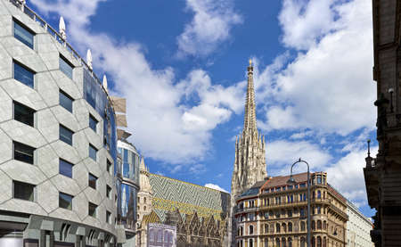 stephansplatz: The Vienna Stephansdom with the so called Haas-Haus opposite on a sunny day at the all time well-frequented Stephansplatz  The Stephansplatz is a square at the geographical centre of Vienna