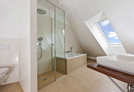 clean house: sunlit bathroom with roof top window