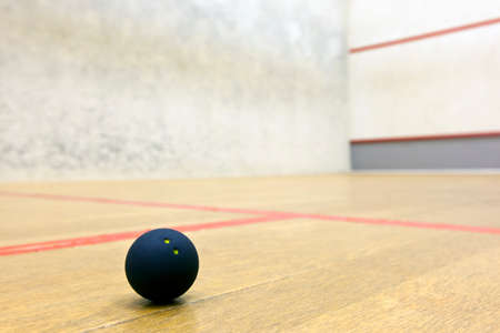 Squash ball in sport court 版權商用圖片