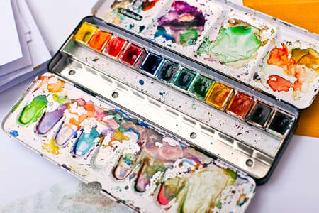 paintbox: Picture of messy, used aquarelle paintbox Stock Photo