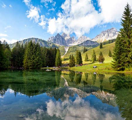View from Almsee to the Bischofsmtze of Salzburg  Filzmoos  in Austria Stock Photo - 23096131