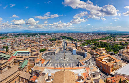 Panorama aerial view of Rome from Saint Peter Stock Photo