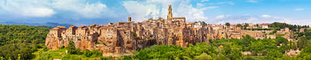 Panorama view of the town Pitigliano, Italy photo