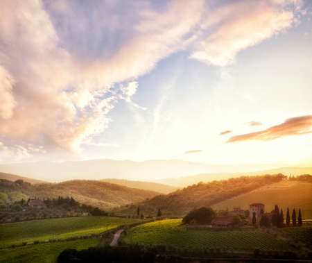 Picturesque Tuscany landscape at sunset, Italy photo