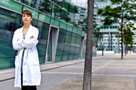 biophysics: Confident and smart scientist or doctor Stock Photo