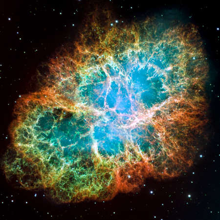 cleaned: Crab Nebula - part of the constellation Taurus  Its a remnant of a supernova in the year 1054  Its core is a strong pulsar neutron star  Retouched and cleaned version of original image from NASA STScI Stock Photo