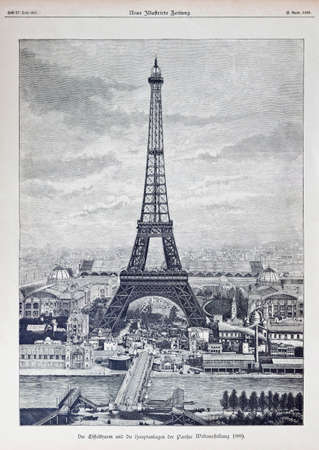 Very detailed reprography of a vintage engraved illustration from Eiffel Tower  French  La tour Eiffel  created 1889 for Exposition Universelle of 1889  World