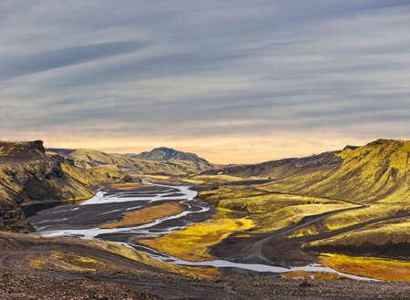 surreal landscape: Surreal landscape of Landmannalaugar - Iceland Stock Photo