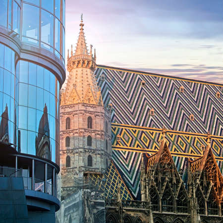 stephansplatz: St. Stephan cathedral and the modern Haas Haus in Vienna