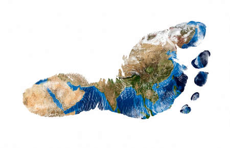Real imprint of child foot with a world map of Asia - isolated on white background.Elements of this image furnished by NASA