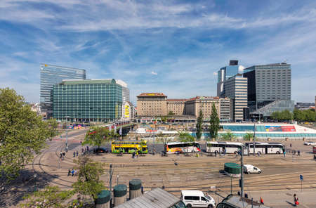VIENNA, AUSTRIA - APRIL 27, 2018: The Schwedenplatz (German for Sweden Square) is a square in central Vienna, located at the Danube Canal and one of the most important public transport junction.