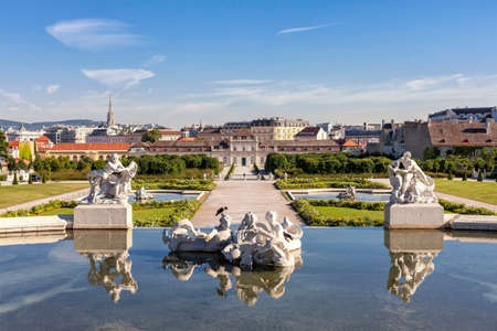 Public Baroque park of Belvedere Palace Vienna at a sunny day