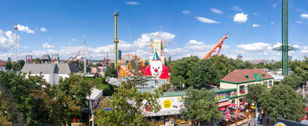 VIENNA, AUSTRIA - JUNE 23, 2018: The Wurstelprater of Vienna is amusement park and section of the Wiener Prater. The best-known attraction is the Ferris wheel Wiener Riesenrad.