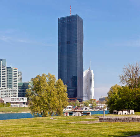 Vienna at the Danube Island - one of the most interesting extensive public recreation area with the new DC-Tower - the tallest skyscraper in Austria.