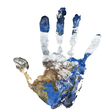 Real hand print combined with a map of China Korea and Japan.Elements of this image furnished by NASA Stock Photo - 119551219