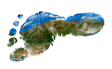 Real imprint of child foot with a world map of Russia - isolated on white background. Elements of this image furnished by NASA Stock Photo